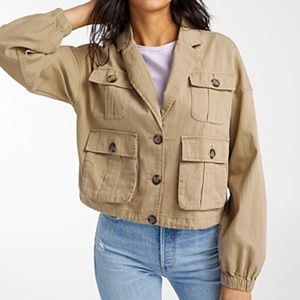 Only brown / tan cotton & linen utility jacket NWT